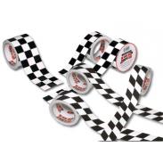 Cinta a cuadros blanca y negra ISC Racers Tape de 13,5 m