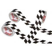 Cinta a rombos blanca y negra ISC Racers Tape de 13,5 m